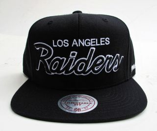 Los Angeles Raiders Black Snap Back Cap Hat by Mitchell Ness