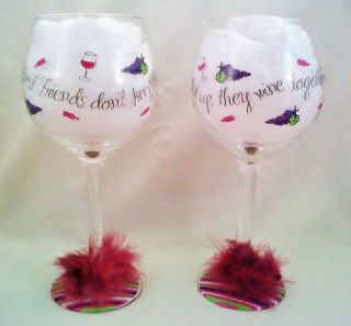 Friends DonT Let Friends Wine Alone  Painted Glitter Wine Glass