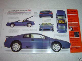 1988 1998 Lotus Esprit Turbo 91 Sheet Brochure Booklet