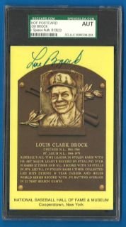 Lou Brock Signed Hall of Fame Plaque JSA SGC Slab Autograph Cardinals