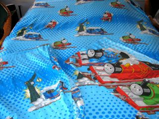 piece THOMAS THE TRAIN bed set flat fitted sheets 1 pillow case twin