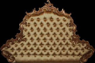Louis XV Carved Gold Tufted Headboard King Queen Bed