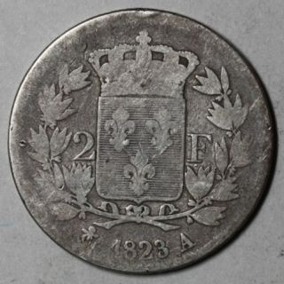 1823 A Louis XVIII France 2 Francs 90 Silver Coin Only 268K Made