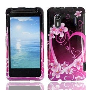 Purple Love Hard Protector Case Snap on Phone Cover for HTC EVO Design
