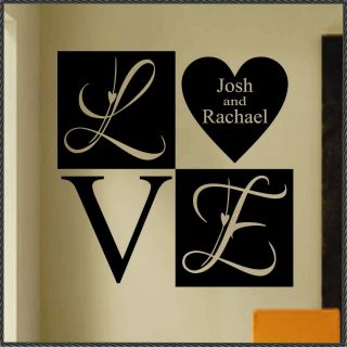 Romantic Personalized Names Love Heart Block Vinyl Wall Lettering