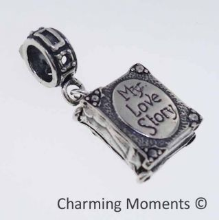 Sterling Silver .925 Charm My Love Story Book w/ European Ring Slide