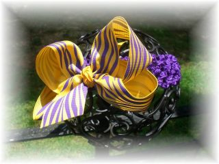 LSU Purple and Gold Tiger Baby Hair Bow Headband Set