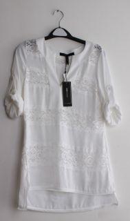 BCBG Max Azria Womens Lucey White Lace Satin Stripe Tunic