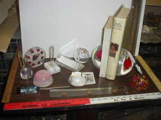 12 Piece Lucite Mid Century Modern Desk Set with Roses Other Flowers