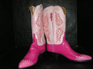 NEW LUCCHESE 1883 Cowboy Boots Ostrich Ital Goat Womens 9B Made USA Mk