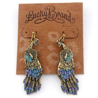 Lucky Brand Vintage Gold Tone Peacock Drop Dangle Earrings