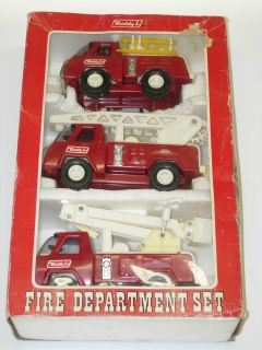 Vintage Buddy L Fire Dept Set Ladder Pumper Bucket Truck