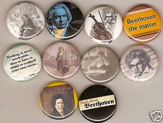 LUDWIG VAN BEETHOVEN COMPOSER AND PIANIST 10 PINS BUTTONS BADGES