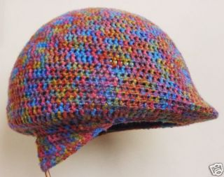 Knit Crochet Winter Riding Helmet Cover Multi Colored