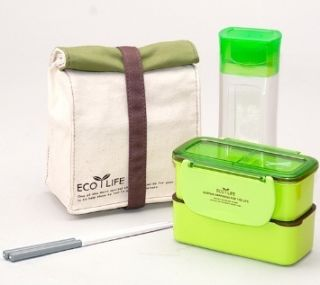 GREEN Bento Lunch Box Set w 2 Containers Bottle Chopstics Insulated