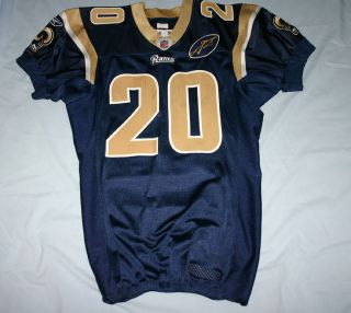 ST LOUIS RAMS BLUE GAME USED WORN JERSEY WITH GEORGIA PATCH 2008