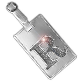 Bling Initial Luggage Tag White The Letter R