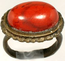 Elegant AD300 Roman Turkey Ring Size 9½ Antique 18thC Nubian Red