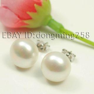 AAA 11 12mm White Black Pink Cultured Akoya Pearl Earrings 14kt White