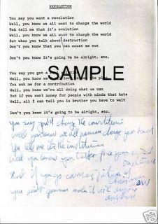 Beatles John Lennon Handwritten Lyrics Revolution