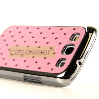 LUXMO PINK CHROME DELUXE BLING GEM CASE COVER FOR SAMSUNG GALAXY S 3