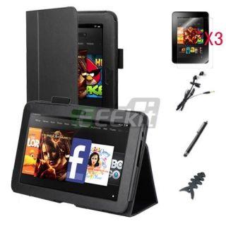 Eeekit for  Kindle Fire HD 7 Black PU Leather Case 3 Pack Screen