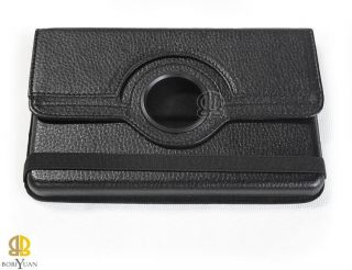 Black  Kindle Fire Leather Case Cover with 360° Degree Rotation