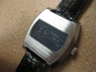 Lucerne Blue Silver Digital Jump Hour Windup Watch Mint