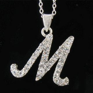 Silver Tone Initial Letter M Crystal Pendant Necklace M