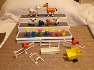 Vinage Fisher Price Lile People Farm Animals Horse Cow Pig Sheep