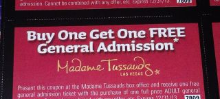 B1G1 FREE Madame Tussauds Wax Museum Las Vegas Coupon Valid 7 days