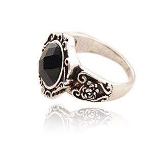 Hot Ancient Magic Mirror Black Stone Retro Style Ring