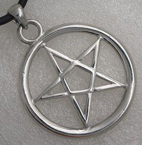 Big Magic Star Pentagram Pentacle Silver Pewter Pendant