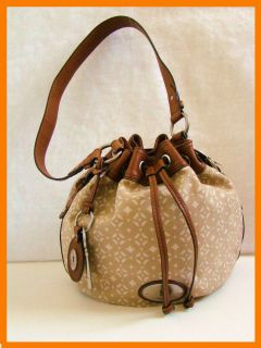New FOSSIL Maddox Drawstring Tan Off White Print Fabric Brown Leather