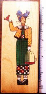 209 Alma Lynne Fancy Cat Big Wood Mounted Rubber Stamp