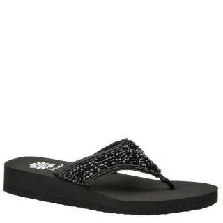 Yellow Box Mahalia Womens Beaded Flip Flops Sandals Shoes 9 Black