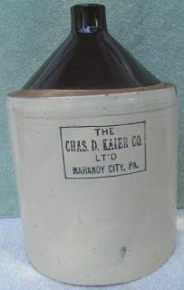 Old The Chas D Kaier Co LtD Mahanoy City PA Ceramic Jug Crock Beer