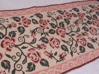 Long Tapestry Rose Covered Table Runner Rug Shabby Cottage Chic French