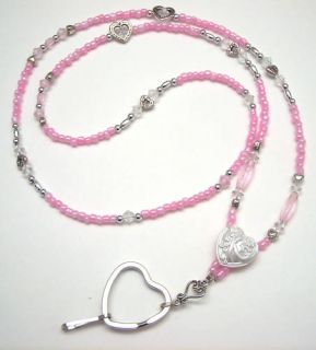 Beaded Lanyard ID Badge Holder Pink Silver White Hearts 0076
