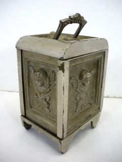 Antique 1911 Cast Iron Still Bank Kenton Safe Cherubs Combination