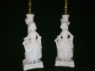 Antique Little Girls Maidens Candle Holders Light Bulbs DRGM