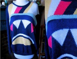 OS Color Block Angora Ramie Sweater Jumper Beaded Malina Wong