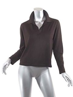 MALO for Bergdorf Goodman Chocolate Brown Cashmere Silk Polo Sweater L