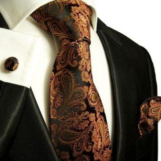 630CH New Bronze Paul Malone Mens Silk Necktie Set