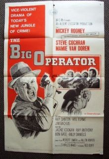 MAMIE VAN DOREN The BIG OPERATOR Original 1 SHEET Poster MICKEY ROONEY