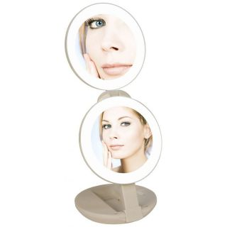 LED Lighted Travel Makeup Mirror 1x to 10x Magnification