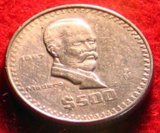 Mexico 1987 $ 500 Pesos Madero Thick Mexican Coin