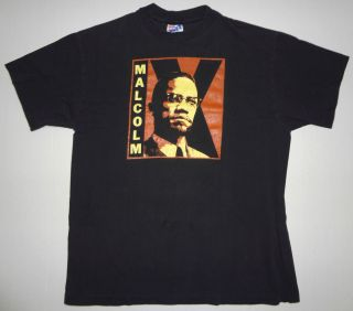 Vintage Malcolm x T Shirt Tee Spike Lee 90s Movie Vtg L
