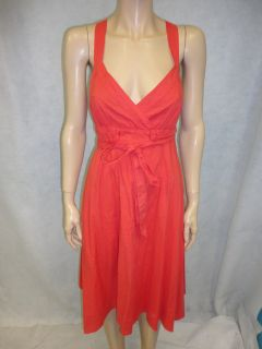 Maeve by Anthropologie Coral Orange Cotton Cross Straps Day Dress 8