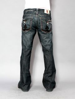 Mens Laguna Beach Jeans Manhattan Beach Grey Stitch Boot Cut